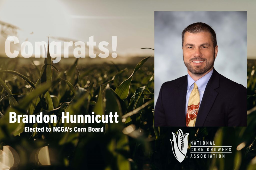 Brandon Hunnicutt, a farmer from Giltner, was reelected to serve on the National Corn Growers Association's Corn Board. This will be Hunnicutt's second term on the board.